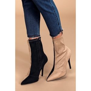 Lulus Color Block Pointed Toe Sock Boots Size 8